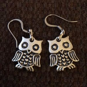 Silvertone OWL pierced earrings. Never worn.